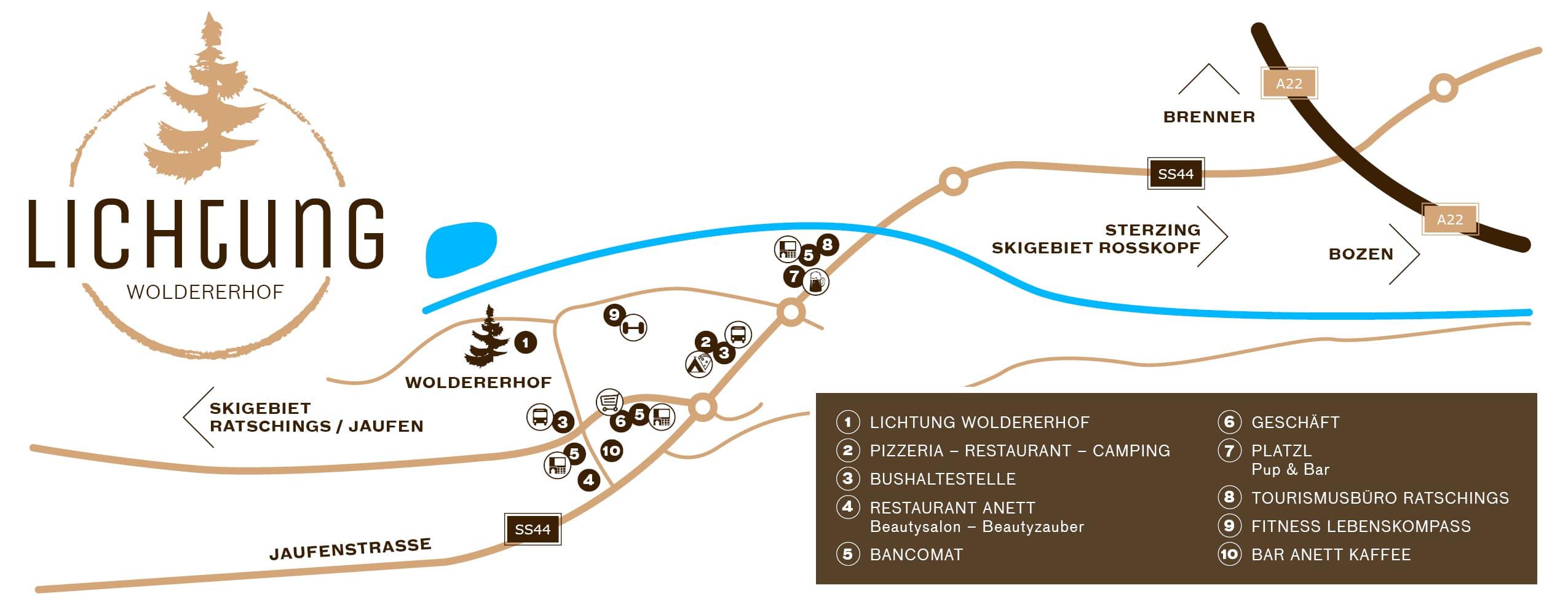 Lichtung Woldererhof - So finden Sie uns!